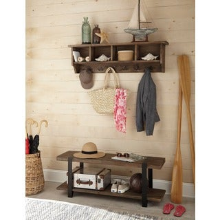 Modesto 48-inch Metal and Reclaimed Wood Storage Coat Hook Shelf and Bench Set