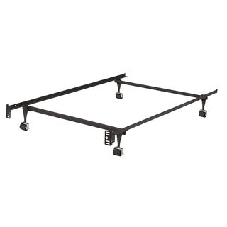 K&B B9000 1 1/4-inch Angle Iron Steel Twin-size Bed Frame With 4 Roller Wheels (2 With Brakes, 2 Without)