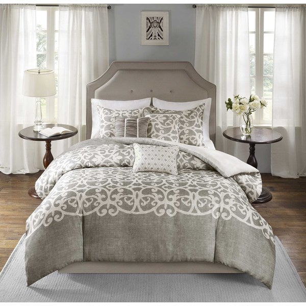 Madison Park Novella Grey 6 Piece Duvet Cover Set Free