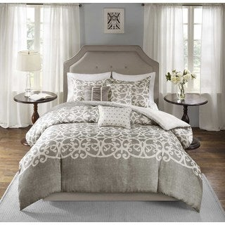 Madison Park Novella Grey 6-piece Duvet Cover Set
