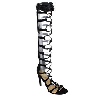 Qupid Women's Black Faux-suede Crisscross Lace-up Knee-high Stiletto Gladiator Sandals