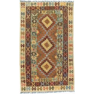 eCarpetGallery Hand-woven Brown/Yellow Wool Kashkoli Kilim (3'2 x 5'4)