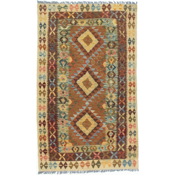 eCarpetGallery Hand-woven Brown/Yellow Wool Kashkoli Kilim (3'2 x 5'4)