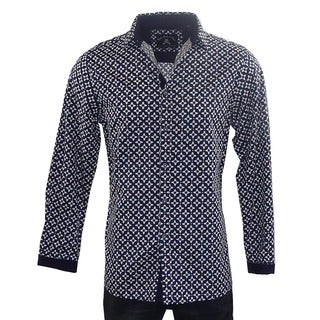 Mens Fashion Button-up Rock Roll N Soul Men's 'STARS FOR LIFE' Blue Cotton Woven Shirt