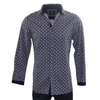 Rock Roll N Soul Men's 'STARS FOR LIFE' Blue Cotton Woven Shirt