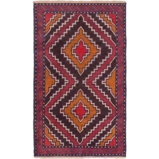 ecarpetgallery Hand-Knotted Kazak Brown/Red Wool Rug (3'9 x 6'2)