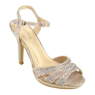 SILVER DEW Women's FC02 Faux-leather Glitter Dress Sandals