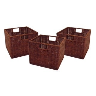 Winsome Leo Walnut Finish Rattan 11-inch Wired Storage Baskets (Set of 3)