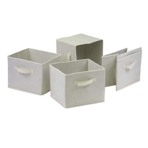 Winsome Capric Home Storage Beige Fabric Foldable Baskets (Pack of 4)