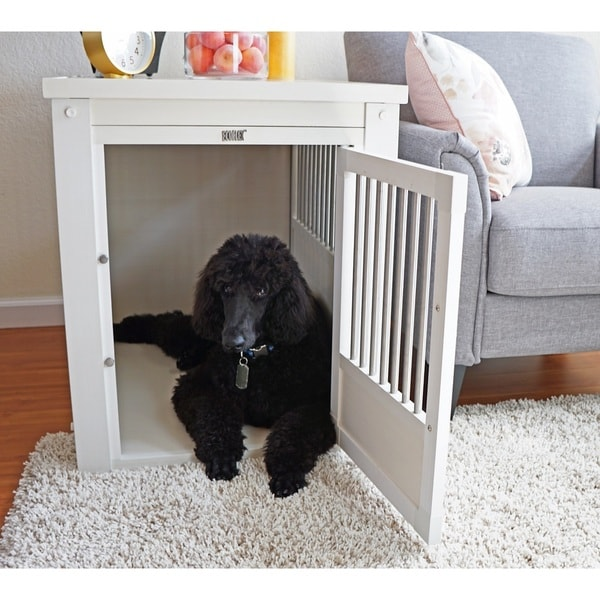 Ecoflex White Dog Crate End Table With Stainless Steel Spindles