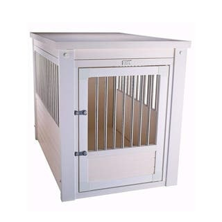 EcoFlex White Dog Crate/ End Table with Stainless Steel Spindles https://ak1.ostkcdn.com/images/products/12045761/P18915950.jpg?impolicy=medium