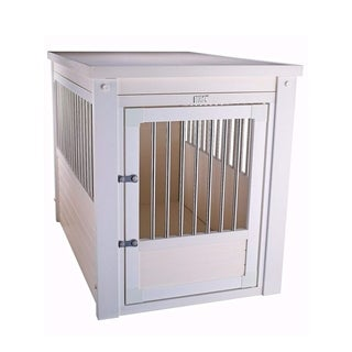 ecoFLEX White Dog Crate/End Table with Stainless Steel Spindles