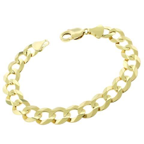 "14K Yellow Gold 11.5MM Solid Cuban Curb Link Bracelet Chain 8.75"", Gold Bracelet for Men & Women, 100% Real 14K Gold"