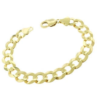 14k Yellow Gold 11.5mm Solid Cuban Curb Link Bracelet Chain 8.5""