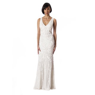 Lotus Threads Women's White/Orange Polyester V-neck Illusion Gown