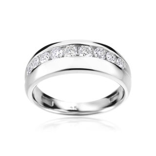 SummerRose 14k White Gold Men's 1-carat Diamond Ring