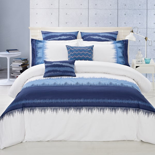 Indigo 3 Piece Cotton Duvet Cover Set