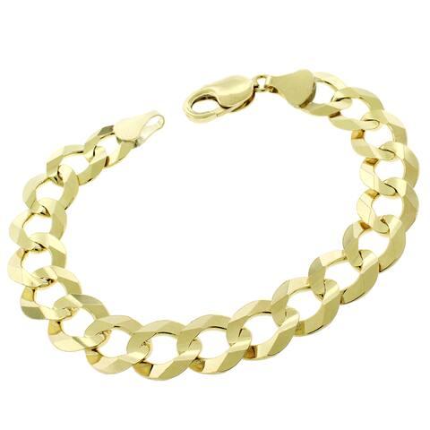 "14K Yellow Gold 12MM Solid Cuban Curb Link Bracelet Chain 8.75"", Gold Bracelet for Men & Women, 100% Real 14K Gold"