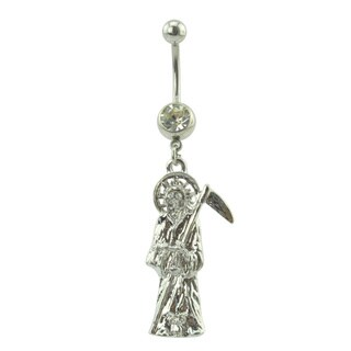 Supreme Jewelry Two-tone Surgical Steel with Cubic Zirconia Gemstone Grim Reaper Belly Ring