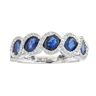 Anika and August 18k White Gold Oval-cut Ceylon Blue Sapphire and Diamond Ring