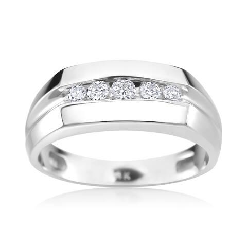 SummerRose Men's 14k White Gold 1/4ct TDW Diamond Ring