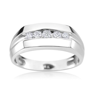 SummerRose Men's 14k White Gold 1/4ct TDW Diamond Ring