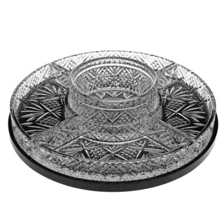 Godinger Dublin Lazy Susan Black/Clear Crystal 5-section Server