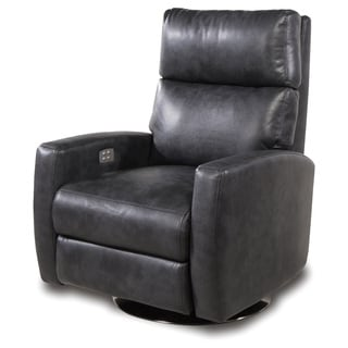Galaxy Home Theater Mottled Grey/Charcoal Leather Gel Seating 2-arm Swivel Power Recliner
