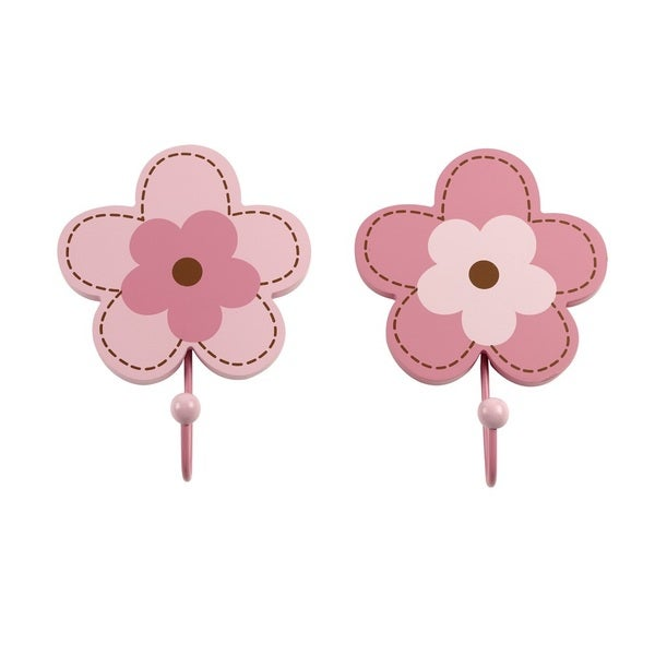 Shop Crown Crafts NoJo Pink Metal/Resin Flower Wall Hooks (Set of 2) - Free Shipping On Orders Over $45 - Overstock - 12045817