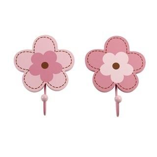 Crown Crafts NoJo Pink Metal/Resin Flower Wall Hooks (Set of 2)