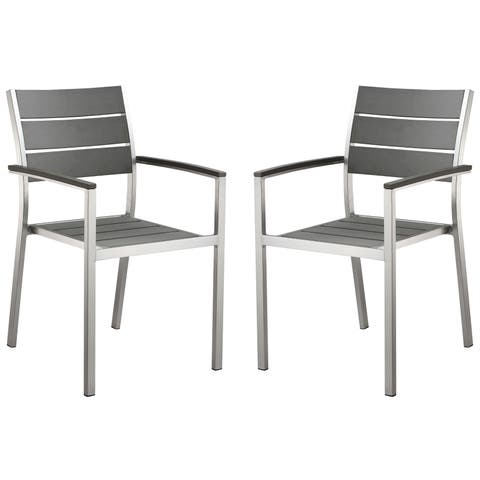 Cortesi Home Maxwell Slate Grey Poly Wood With Brushed Nickel FInish Outdoor Arm Chair (Set of Two)