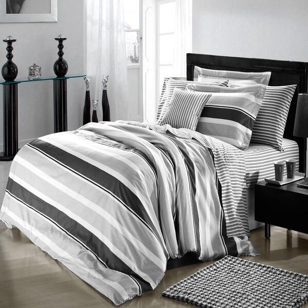 Trenton Stripe Cotton 4-Piece Duvet Cover Set