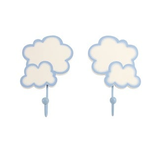 Crown Crafts NoJo White Metal, Resin Clouds Wall Hooks (Set of 2)
