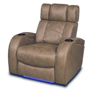 Andromeda Home Theater Seating 2-Arm Power Recliner in Taupe Leather Gel
