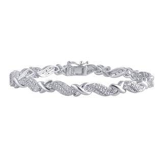 Divina Silverplated Brass 1/4-carat TDW Diamond Fashion Bracelet