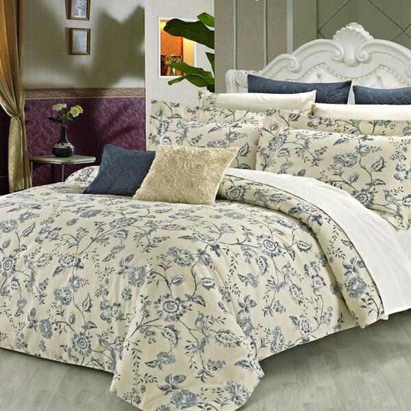 Wedgewood Floral Cotton 3-Piece Duvet Cover Set