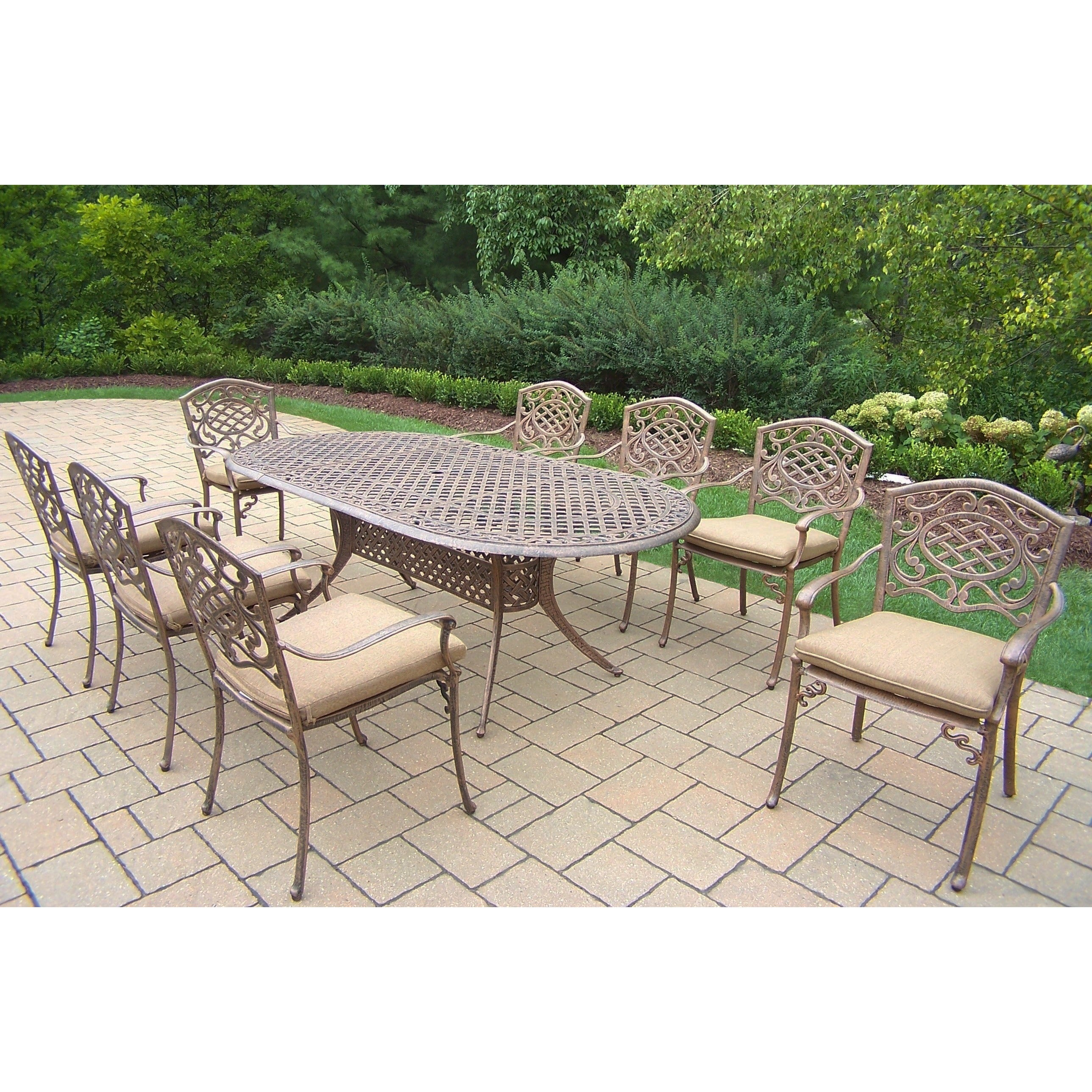 Dakota Aluminum/ Polyester/ Steel 9 Piece Outdoor Dining Set
