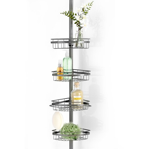 Adjustable 4 Tier Corner Shower Caddy - Chrome or Orb Finish