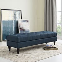 Empress Button Tufted Linen Bench
