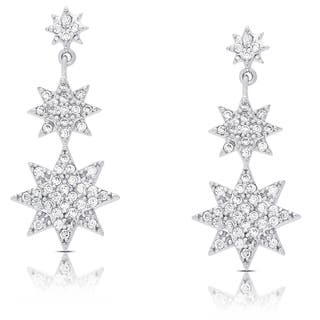 Samantha Stone Sterling Silver Cubic Zirconia Graduated Style Star Dangle Earrings|https://ak1.ostkcdn.com/images/products/12045962/P18916216.jpg?impolicy=medium
