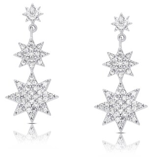 Samantha Stone Sterling Silver Cubic Zirconia Graduated Style Star Dangle Earrings (2 options available)