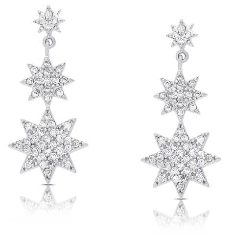 Samantha Stone Sterling Silver Cubic Zirconia Graduated Style Star Dangle Earrings