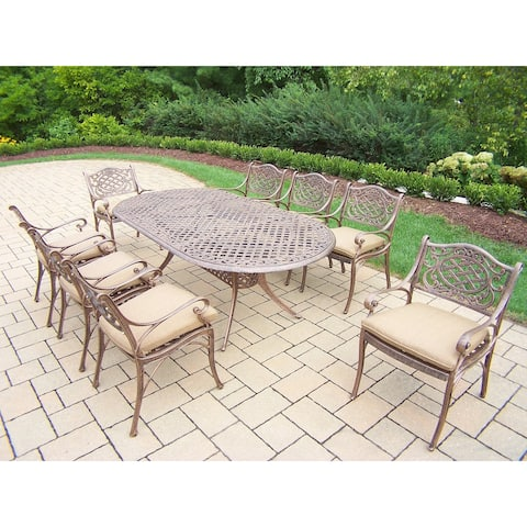 Dining Set, with 84 x 42-inch Oval Table, and 8 Cushioned Arm Chairs