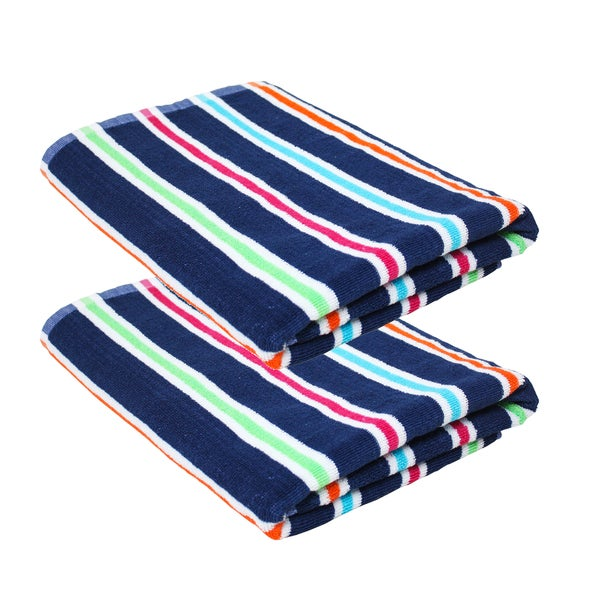 "J & M Home Fashions Candy Stripe Terry 32""""x64"""" Cabana Beach Towel (set of 2)"