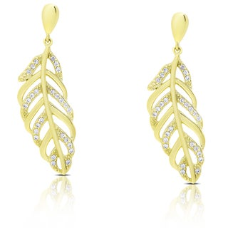 Samantha Stone Sterling Silver Cubic Zirconia Leaf Design Dangle Earrings (3 options available)
