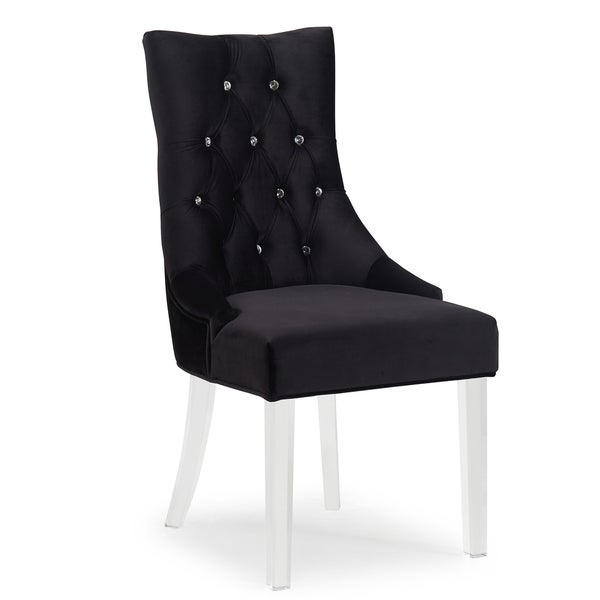 Cavalli Crystal Studded Velvet Accent Chairs With Acrylic Legs