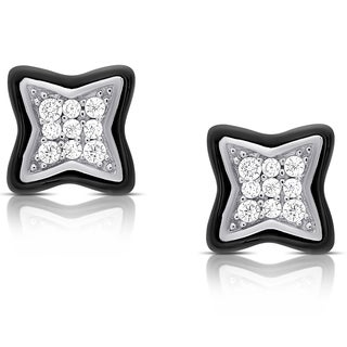 Samantha Stone Sterling Silver Cubic Zirconia Ceramic Clover Stud Earrings