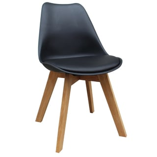 Novita Set Of 2 Mid Century Modern Faux Leather Accent Chairs