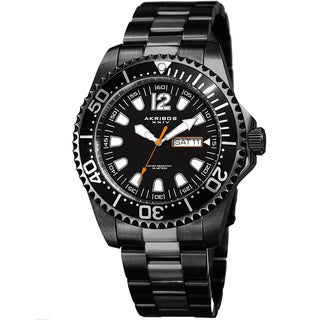 Akribos XXIV Men's Quartz Diver Style Date Stainless Steel Black Bracelet Watch