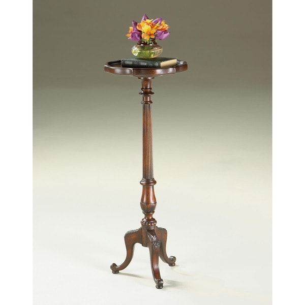 pedestal table wood stand plant side antique
